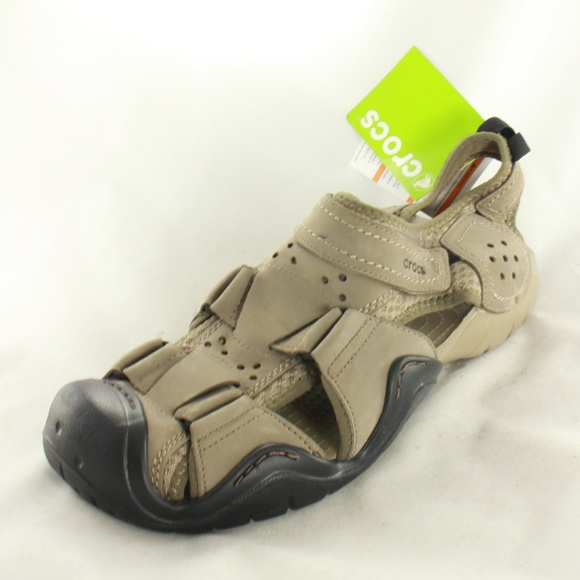 f137d92e1ae9 NWT Crocs Swiftwater Leather Fisherman Sandals